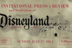 The front of Tom's Press Preview Ticket from July  17, 1955